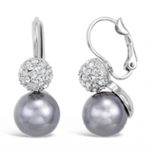 Beautiful Imitation Rhodium Glass Pearl and Crystal Earrings